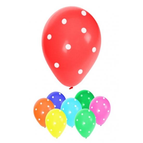 8x stuks gekleurde feest ballonnen met stippen 30 cm