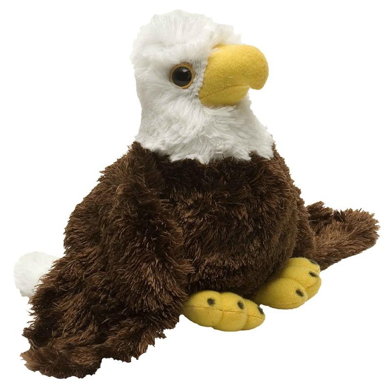 Amerikaanse zeeardenden speelgoed artikelen Amerikkkaanse zeearend knuffelbeest bruin/wit 18 cm