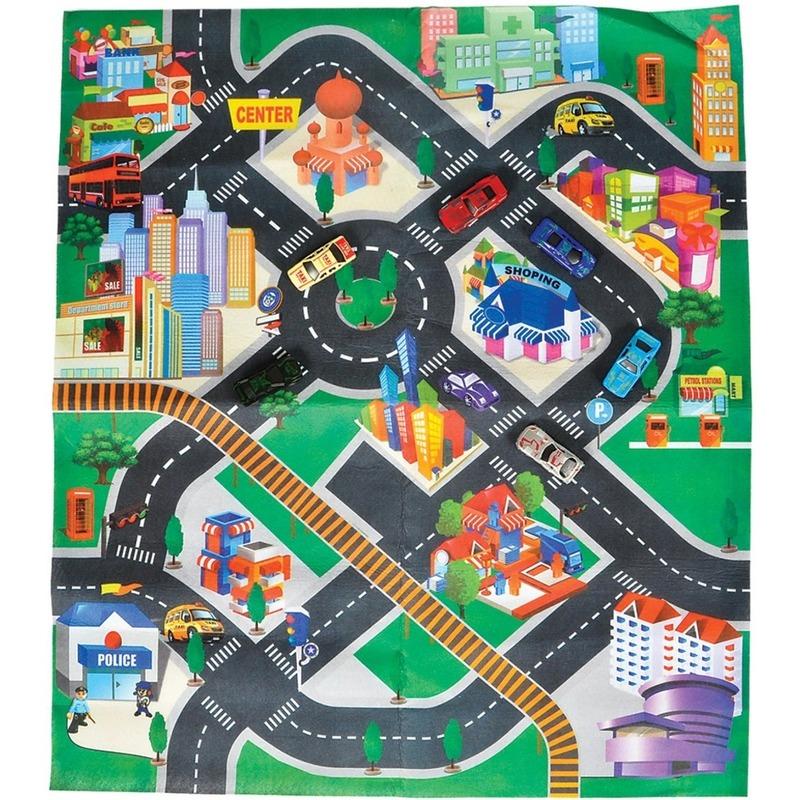 Autospeelkleed Down Town met twee autos 80 x 70 cm