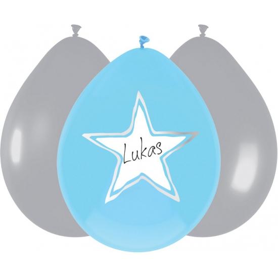 Ballonnen ster geboorte jongen 6x stuks