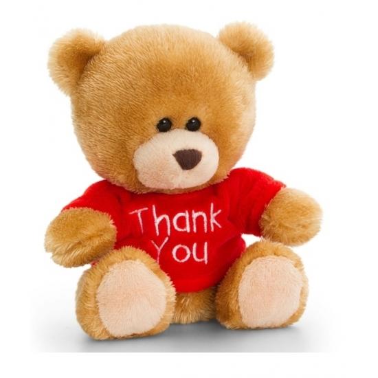 Bedank knuffel beer met shirtje 14 cm