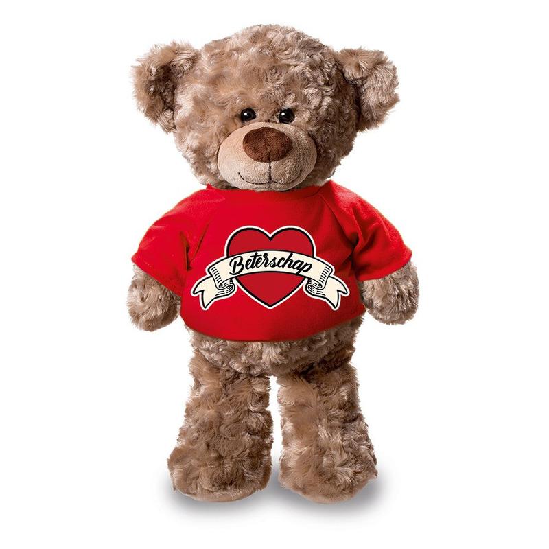 Beterschap pluche teddybeer knuffel 24 cm met rood t-shirt