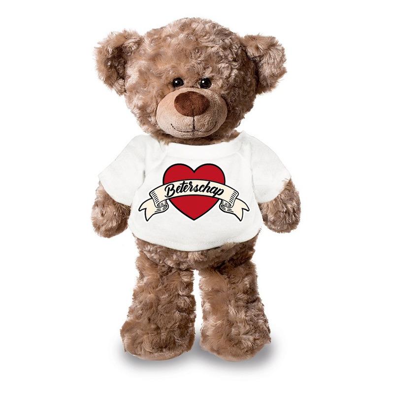 Beterschap pluche teddybeer knuffel 24 cm met wit t-shirt