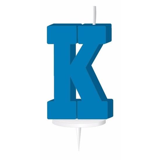 Blauw naam kaarsje letter K