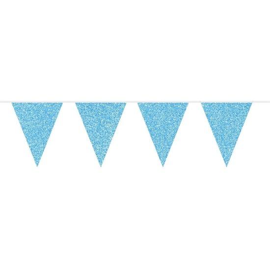 Blauwe glitter feest vlaggenlijnen 10 meter