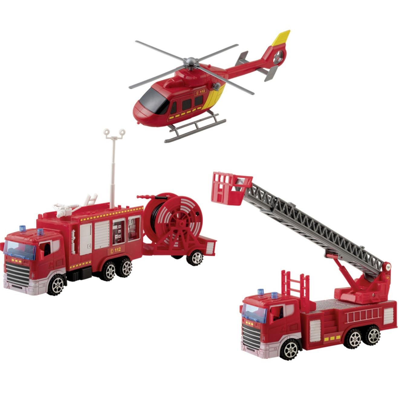 Brandweer voertuigen speelgoed set 4-delig