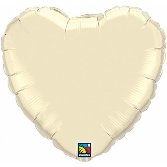 Bruiloft ivoor witte hartjes folie ballon 45 cm