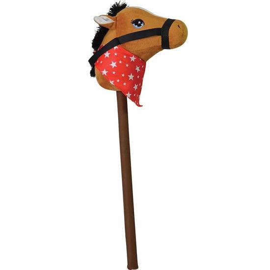 Bruin stokpaardje met geluid 68 cm voor kinderen
