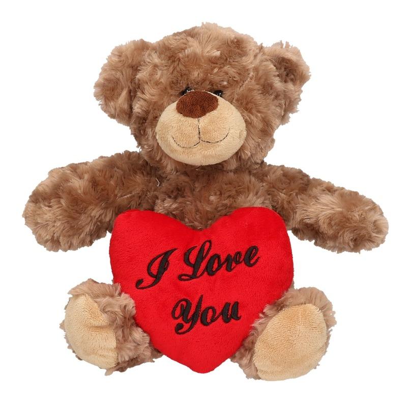 Bruine pluche knuffelbeer met I love you hartje 35 cm