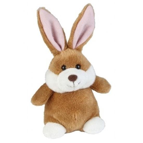 Bruine pluche konijn/haas knuffel 12 cm speelgoed