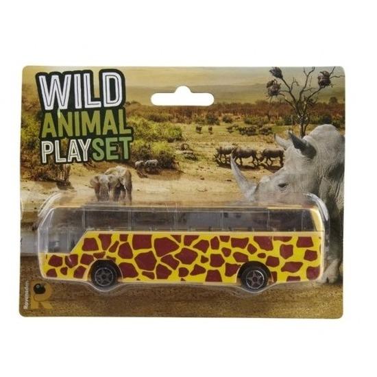 Bus safari speelgoedauto geel giraffe print 14 cm