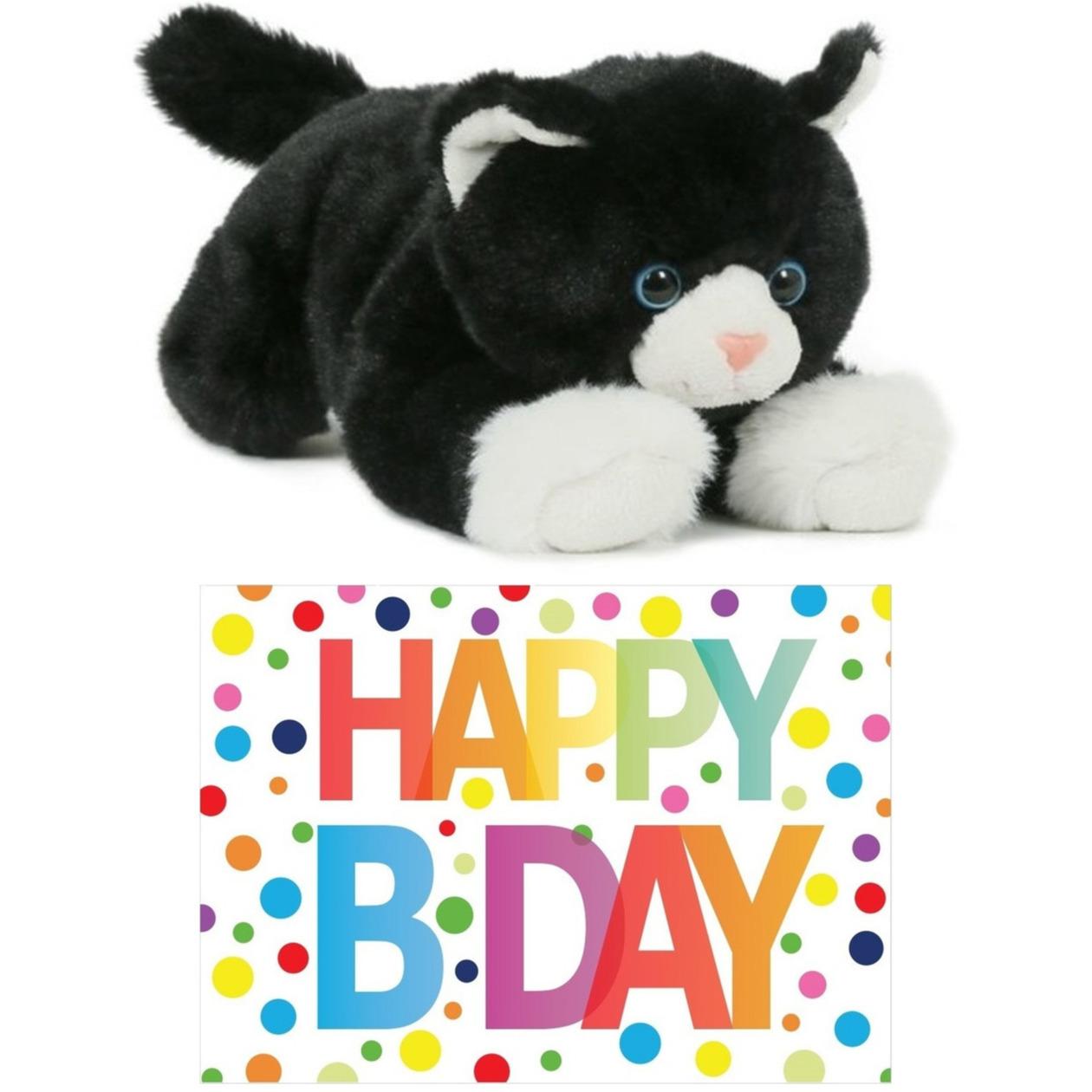 Cadeau setje pluche zwart/witte kat/poes knuffel 25 cm met Happy Birthday wenskaart