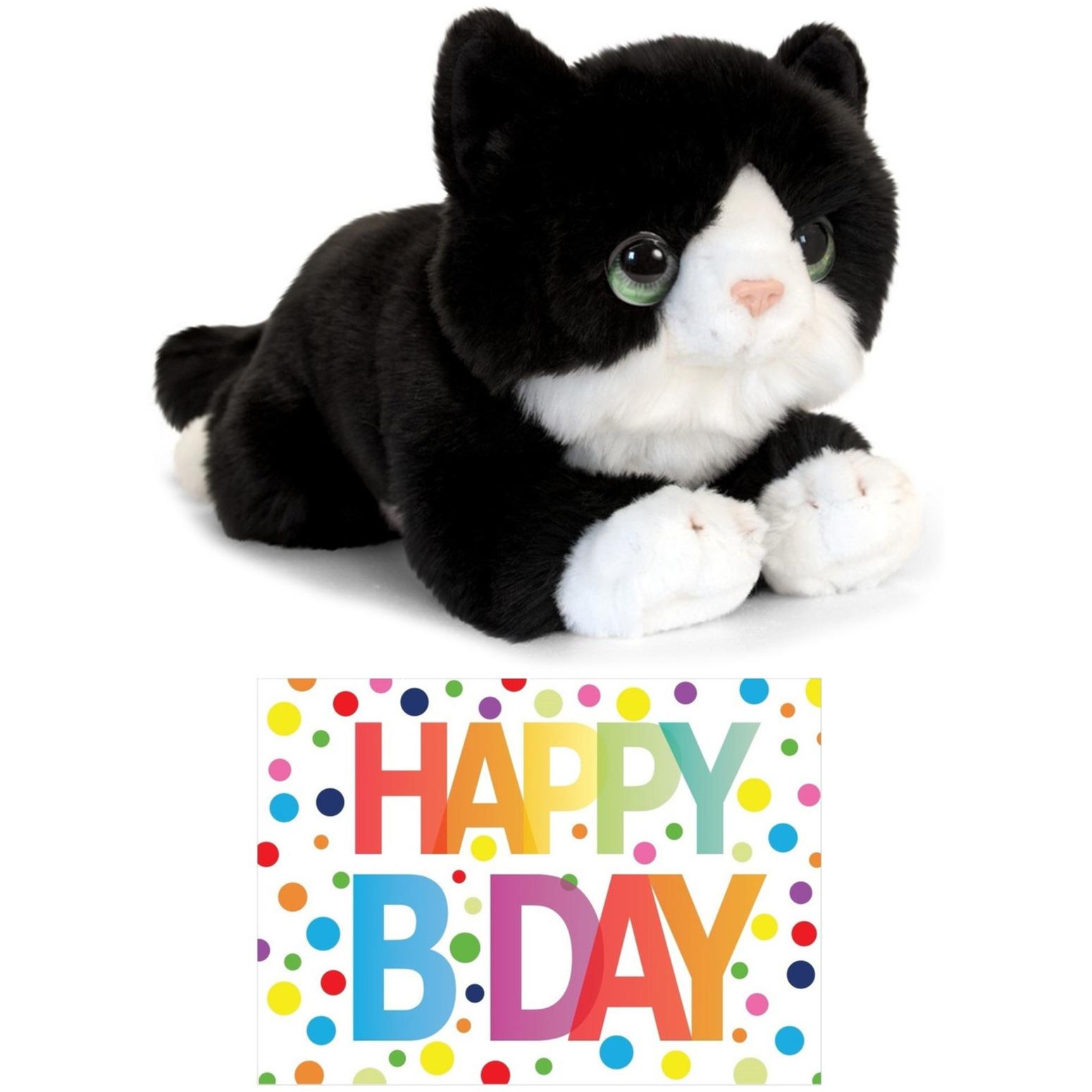 Cadeau setje pluche zwart/witte kat/poes knuffel 32 cm met Happy Birthday wenskaart