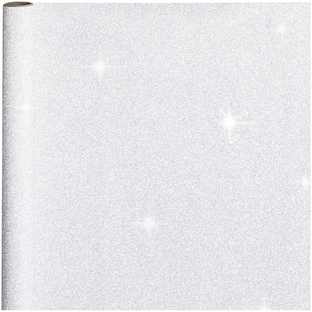 Cadeaupapier/inpakpapier zilver met glitters 400 x 70 cm