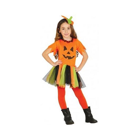 Carnavalskleding oranje pompoen jurkje voor meisjes