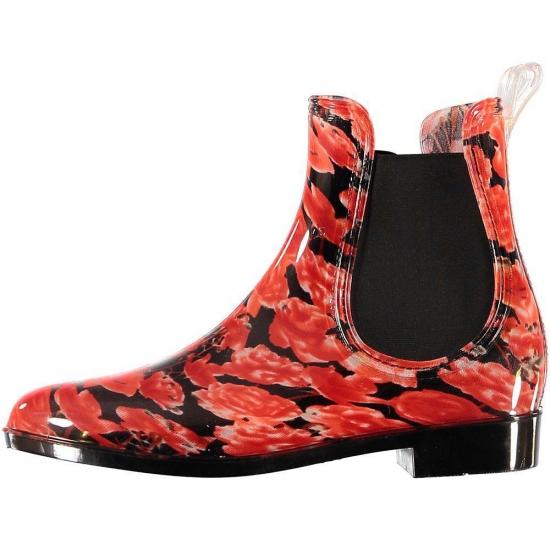 Chelsea boots regenlaarsjes rode rozen voor dames