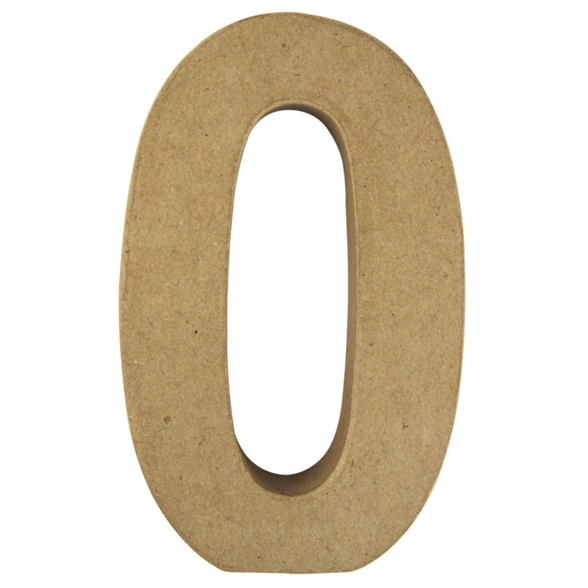 Cijfer 0 van papier mache onbeschilderd