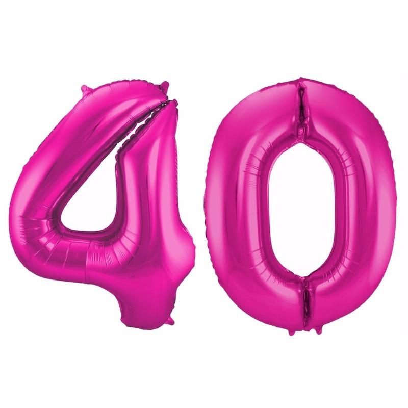 Cijfer 40 ballon roze 86 cm