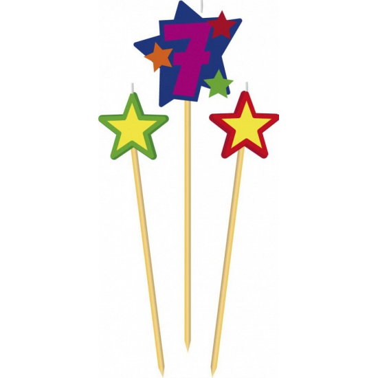 Cijfer 7 prikker kaars met sterren