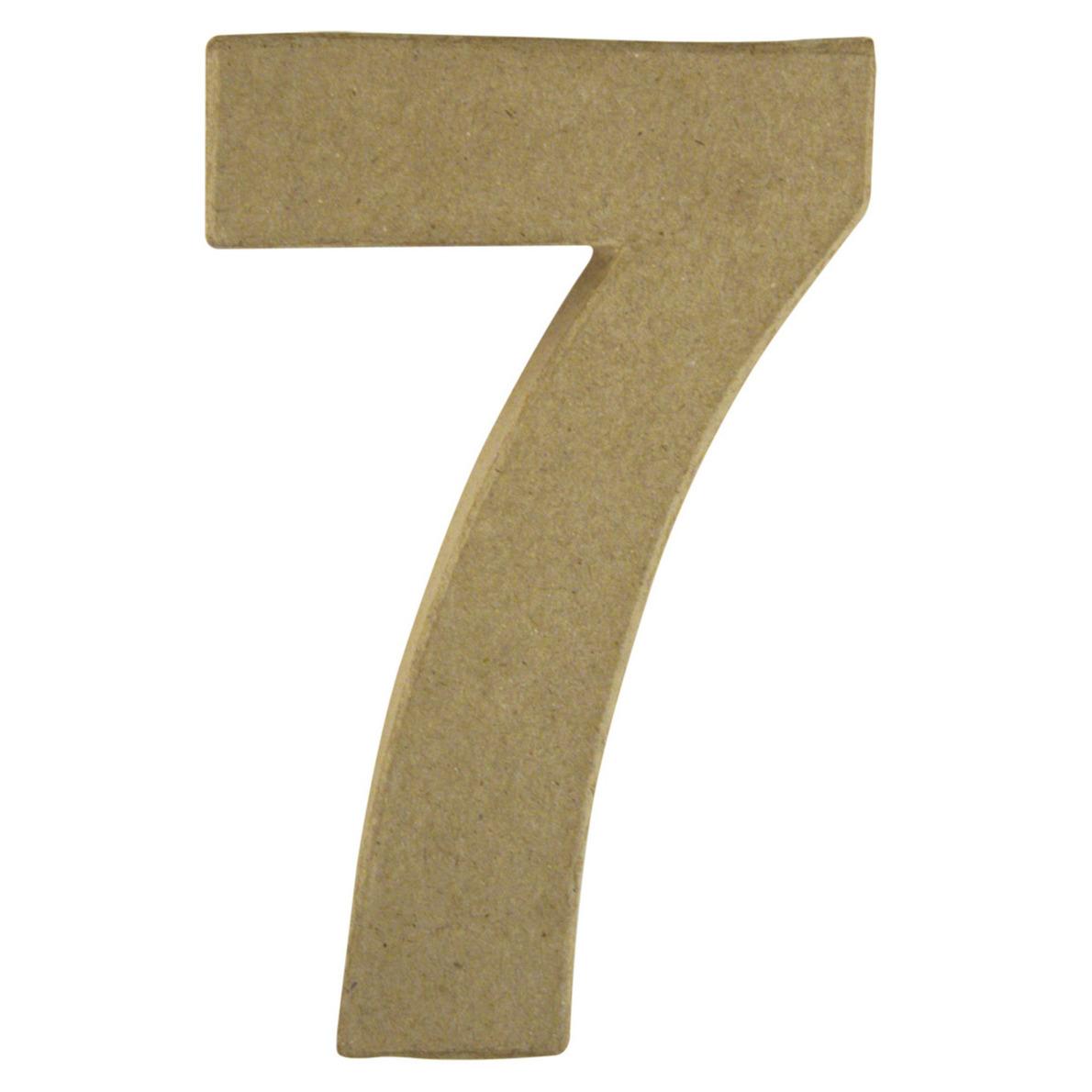 Cijfer 7 van papier mache onbeschilderd