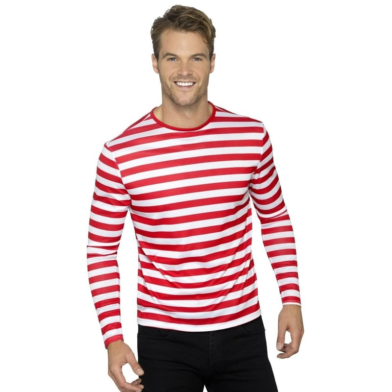 Clowns tshirt met witte en rode strepen