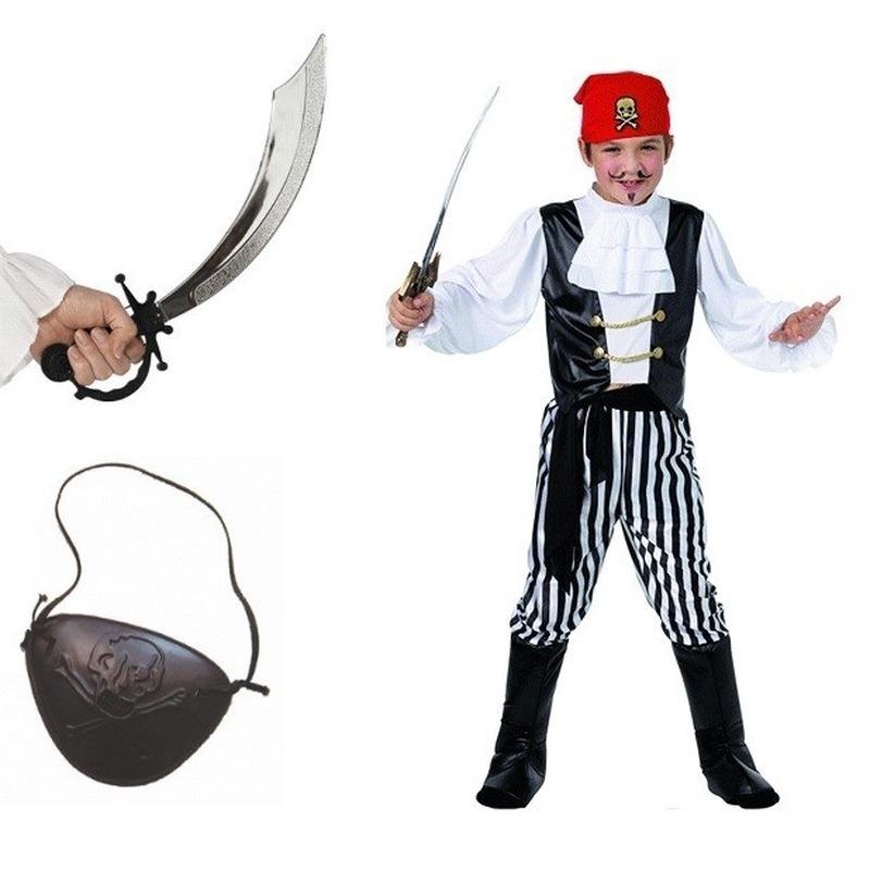 Compleet piraten kostuum maat S voor kids