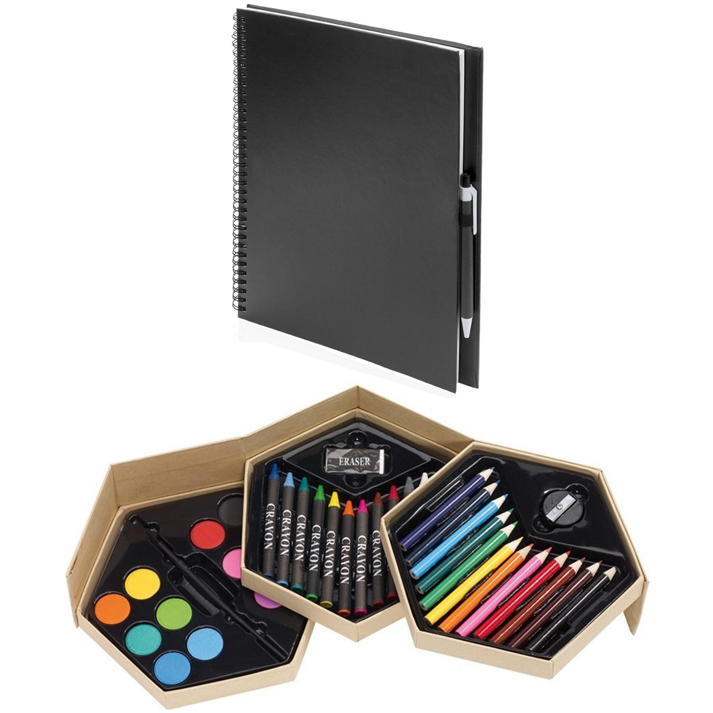 Complete teken/schilder doos 39-delig met een A4 schetsboek