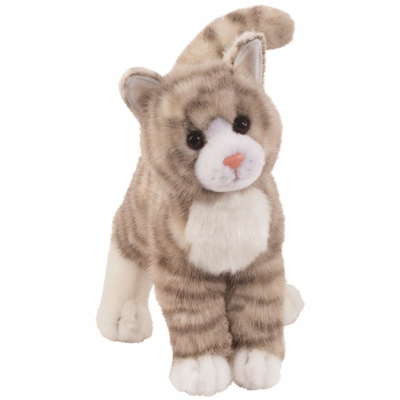 Cyperse kat knuffel beest grijs 30 cm