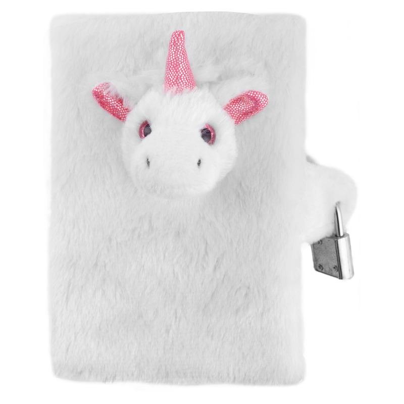 Dagboek witte/roze pluche eenhoorn 10 x 14 cm voor meisjes