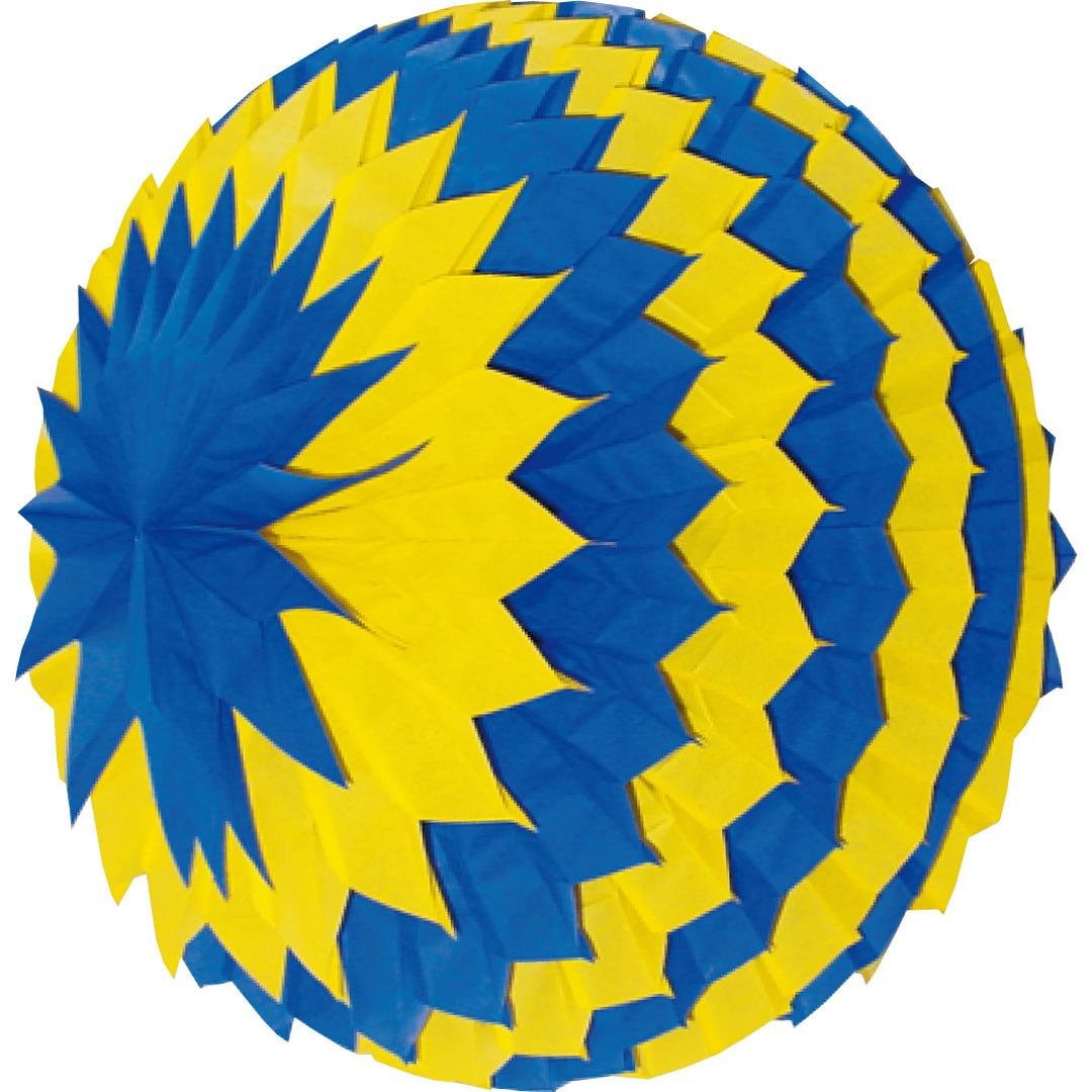 Decoratie bol blauw/geel