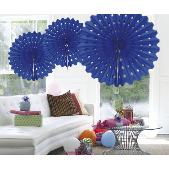 Decoratie waaier blauw 45 cm