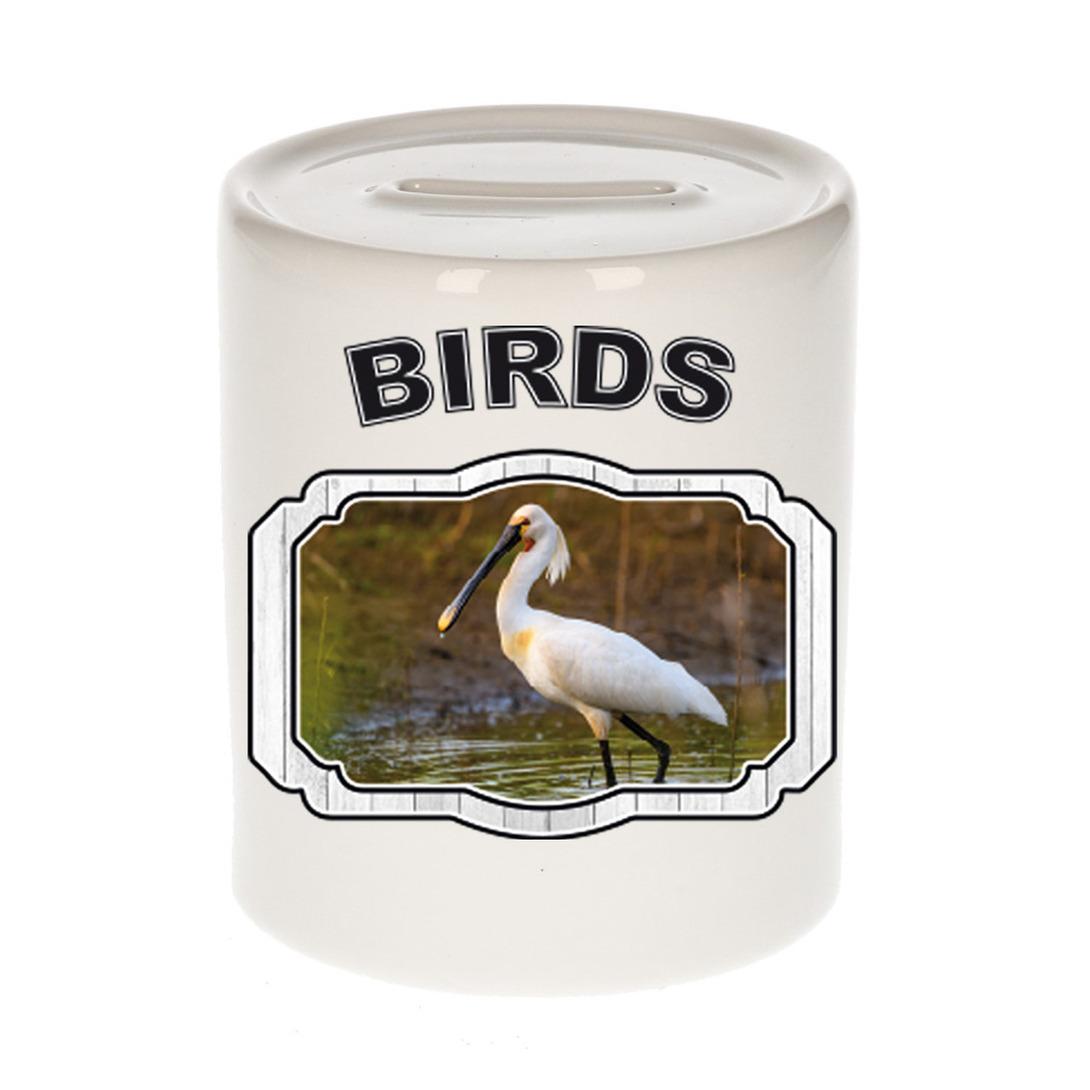 Dieren lepelaar vogel spaarpot - birds/ vogels spaarpotten kinderen 9 cm