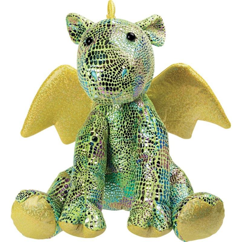 Draken speelgoed artikelen draak knuffelbeest groen 23 cm