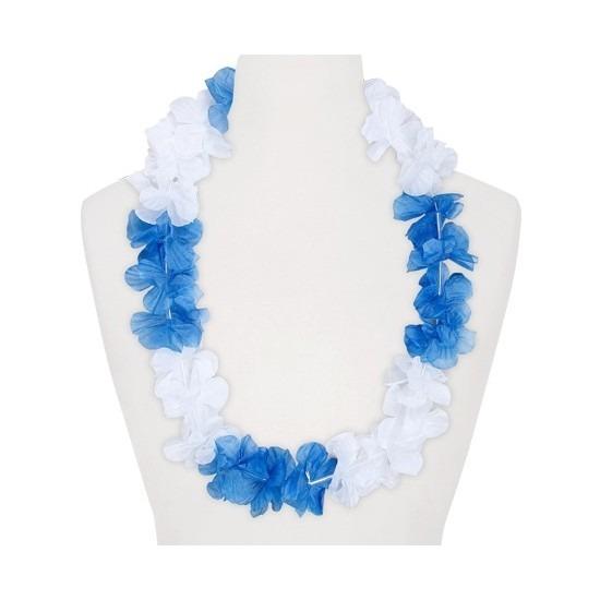 Feestartikelen hawaii bloemen krans wit/blauw