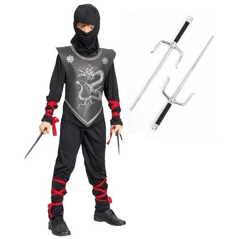 Feestkleding Ninja met dolkenset maat S voor kinderen
