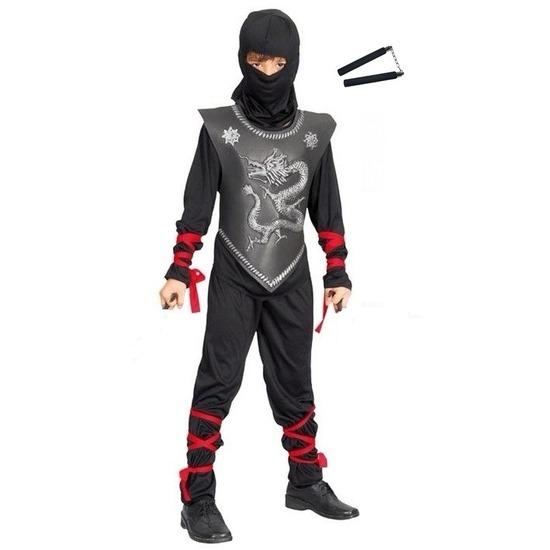 Feestkleding Ninja met vechtstokjes maat M voor kinderen