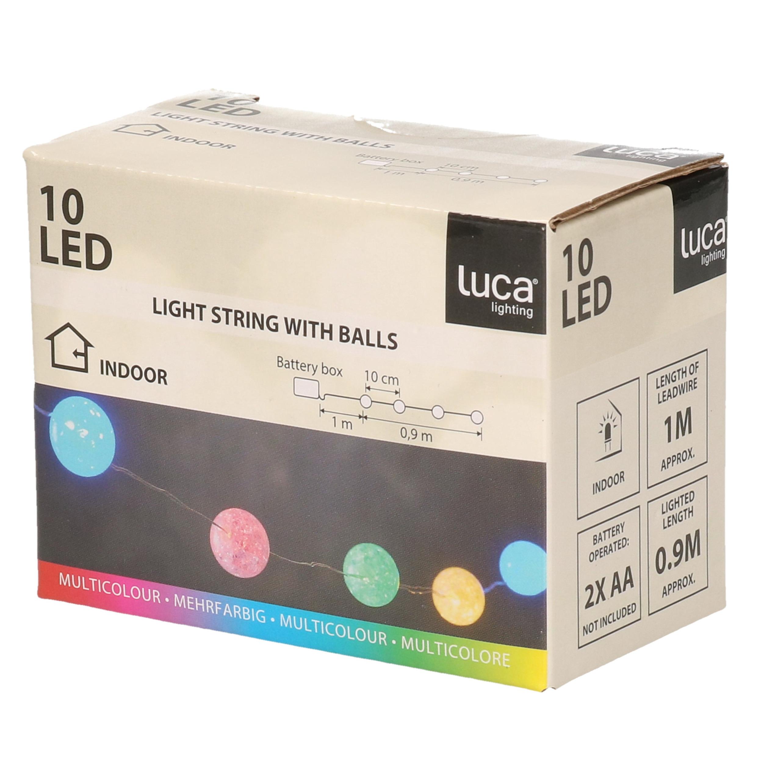 Feestverlichting lichtsnoer met 10 gekleurde lampjes op batterij 1 meter
