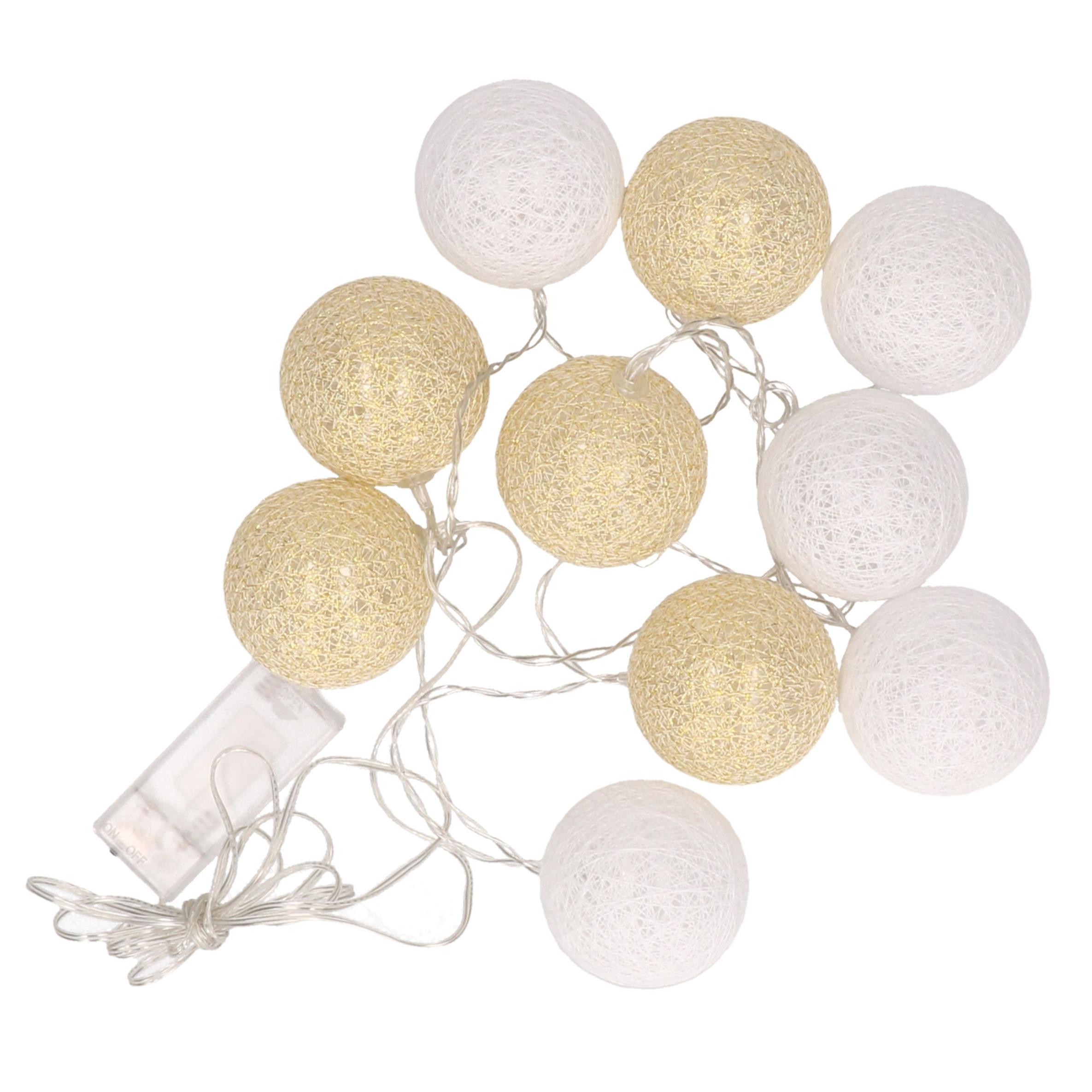 Feestverlichting lichtsnoer met katoenen balletjes wit/goud 300 cm
