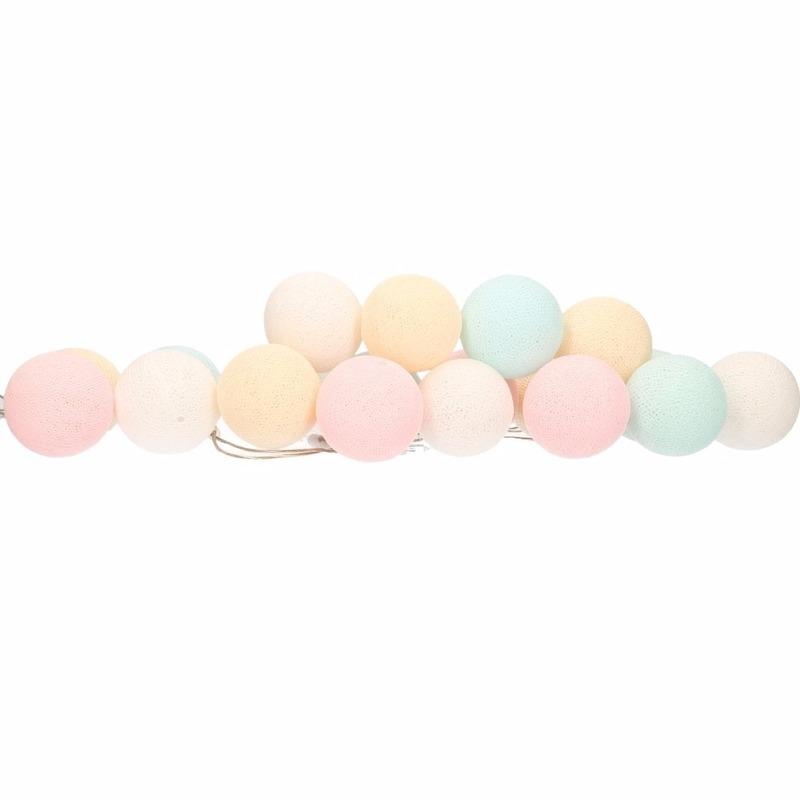 Feestverlichting lichtsnoer met pastel tinten balletjes 378 cm