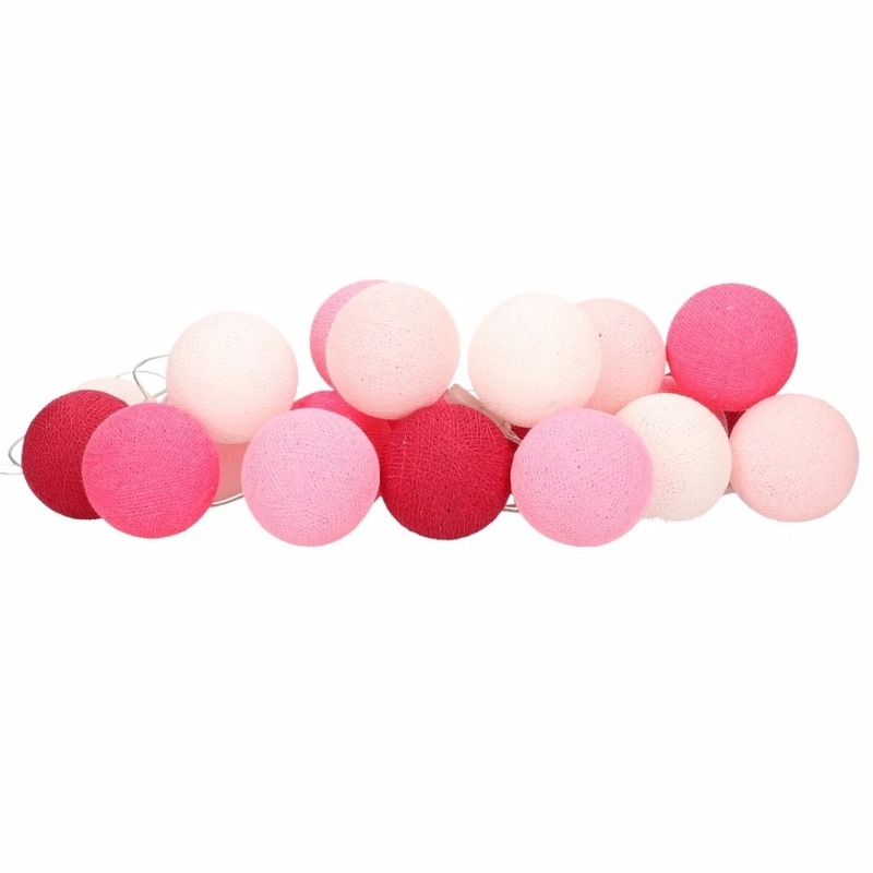 Feestverlichting lichtsnoer met roze balletjes 378 cm