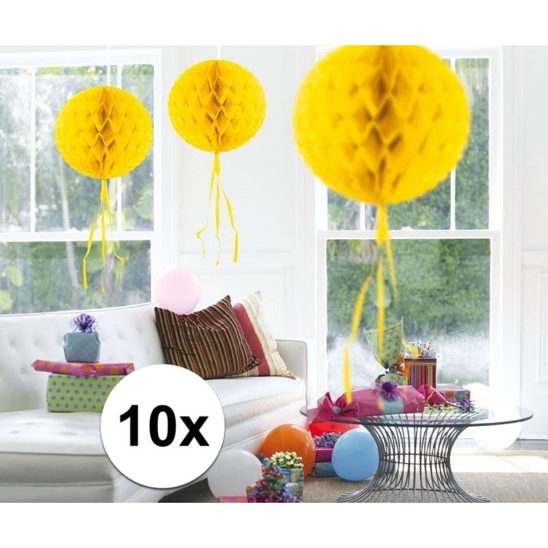 Feestversiering geel decoratie bollen 30 cm set van 3