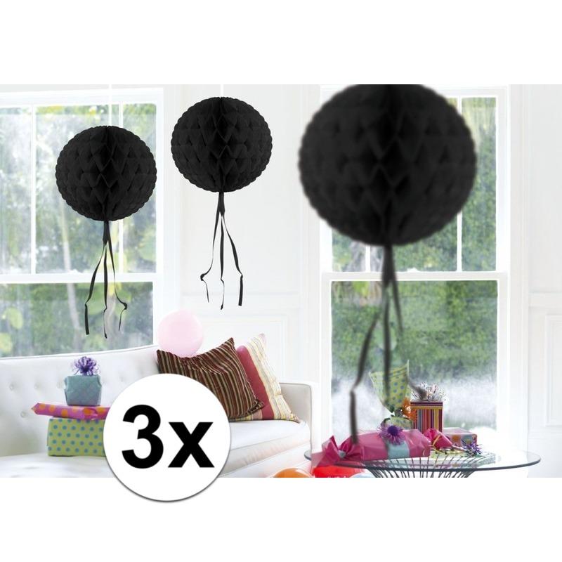 Feestversiering zwart decoratie bollen 30 cm 3 stuks