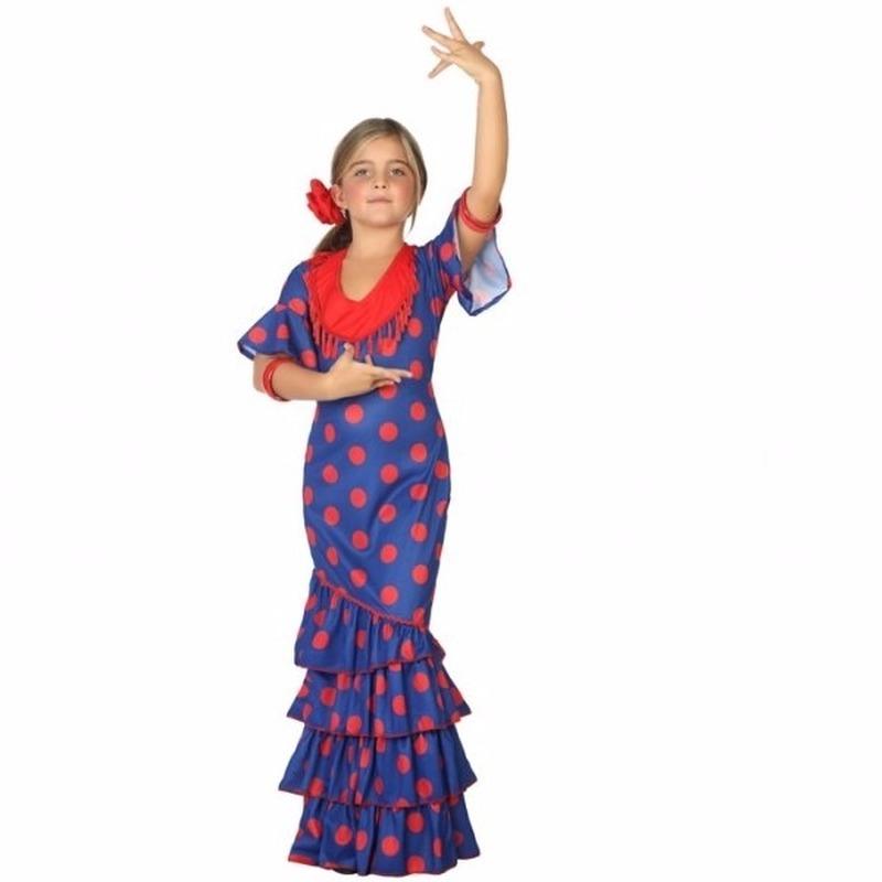 Flamenco danseres kostuum blauw met rood spaanse jurk
