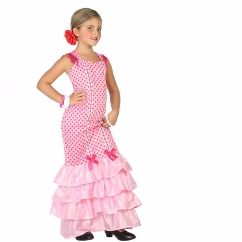 Flamenco danseres kostuum voor kinderen roze