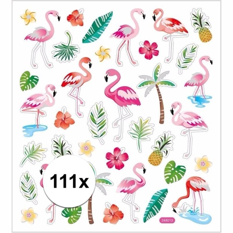 Flamingo stickers gekleurd 111 stuks