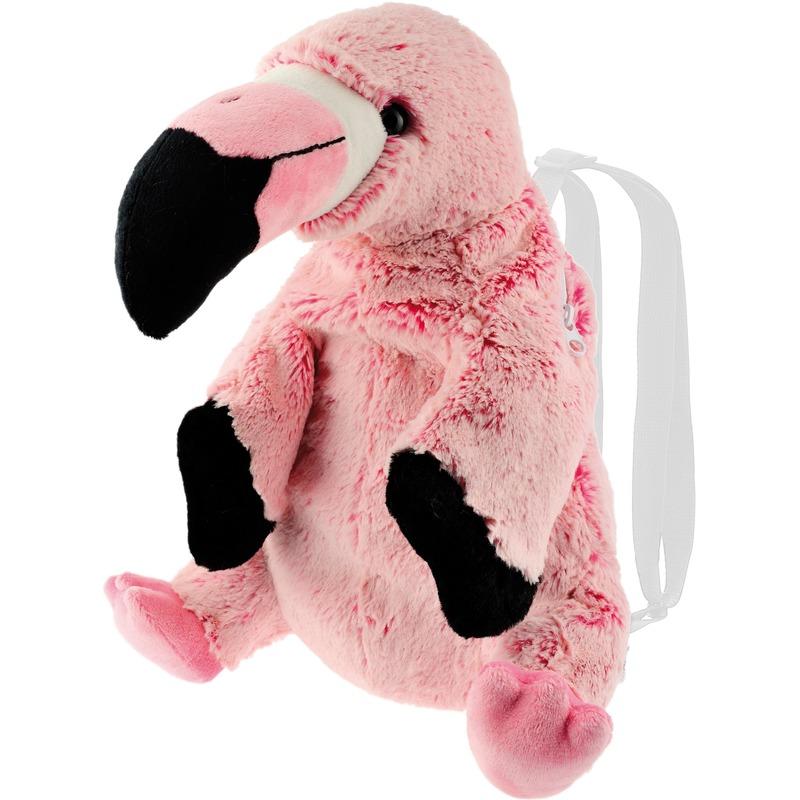 Flamingo vogels speelgoed artikelen rugtas/rugzak knuffelbeest roze 32 cm