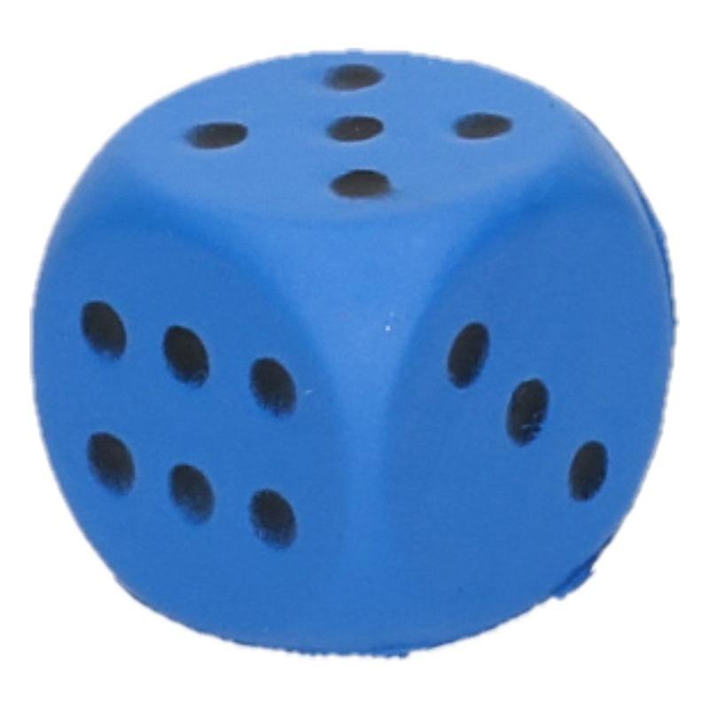 Foam dobbelsteen blauw 4 x 4 cm