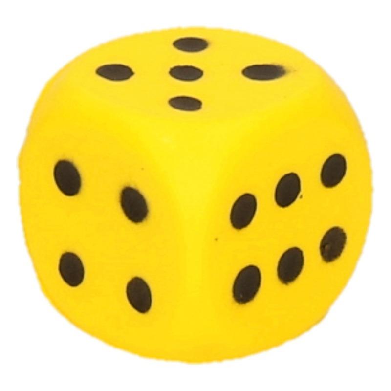 Foam dobbelsteen geel 4 x 4 cm