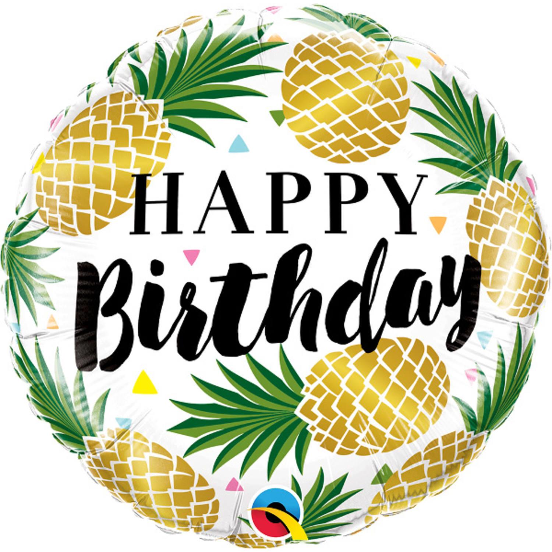 Folie ballon Gefeliciteerd/Happy Birthday ananas 45 cm met helium gevuld