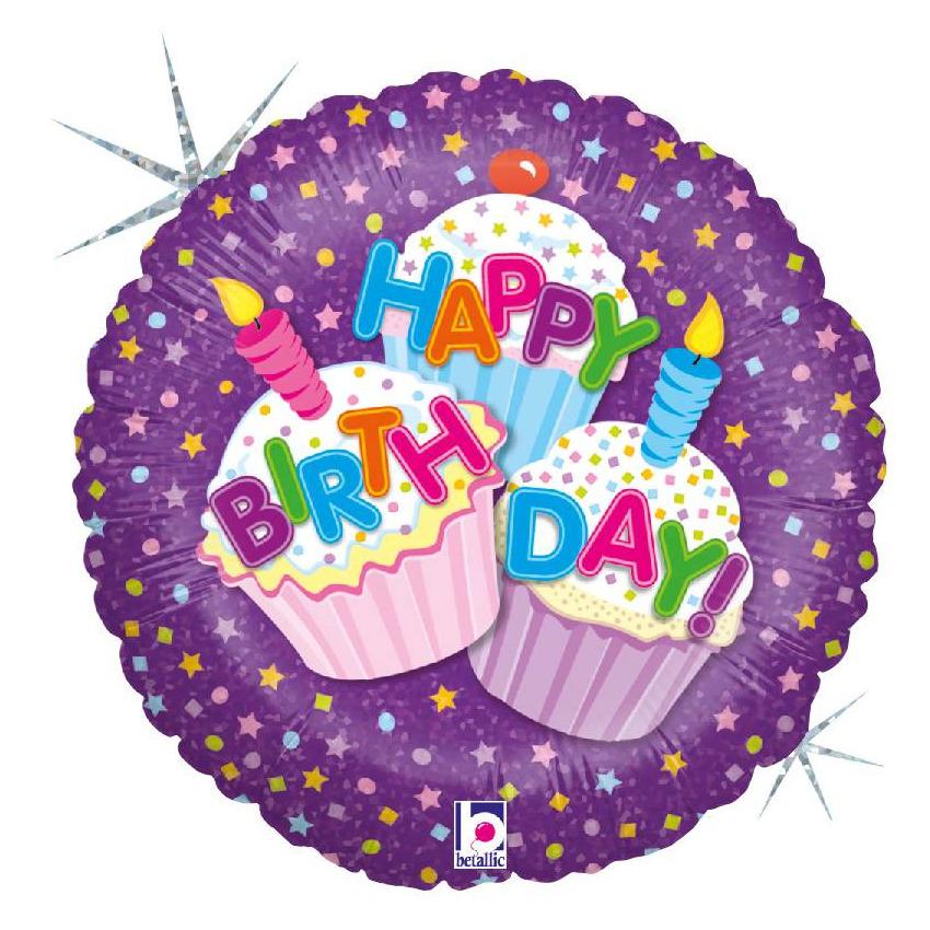 Folie ballon Gefeliciteerd/Happy Birthday cup cakes 46 cm met helium gevuld